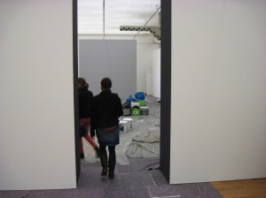 Aufbauarbeiten in der Staatsgalerie Stuttgart